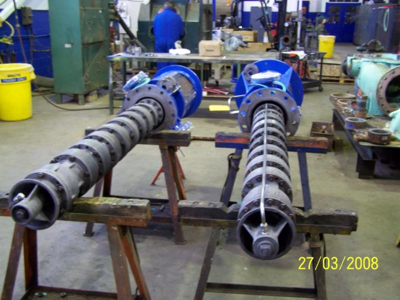 Vertically suspended pumps assembled with Vespel®CR-6100 shaft bearings, wear rings, bowl bushings and bottom bearings